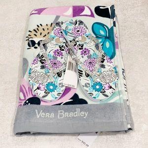 Vera Bradley Beach Towel and Slippers Bundle